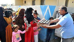 Sınırdaki muhtaç ailelere gıda yardımı yapıldı