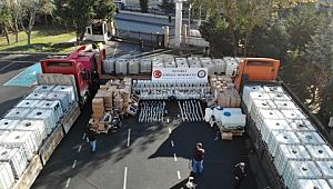 250 ton sahte ve kaçak içki Emniyetin bahçesinde sergilendi