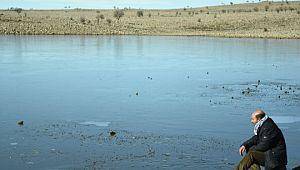 Siverek'te göller buz tuttu