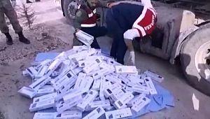 Yakıt deposunda binlerce paket sigara çıktı