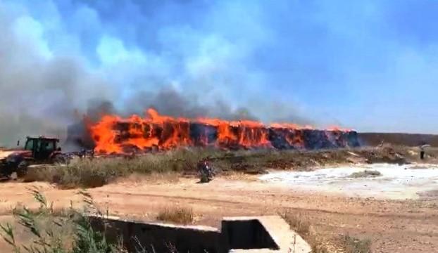 Anız yangınında tonlarca saman kül oldu (Videolu Haber)