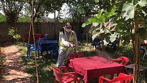 Viranşehir belediyesi, yeni açılan işyerleri dezenfekte çalışması yaptı