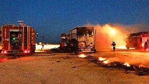 Şanlıurfa'da kargo yüklü tır alev alev yandı (Video)