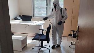 Akçakale'de kamu kurumları dezenfekte ediliyor