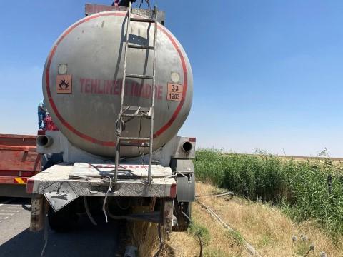 Yakıt tankeri şarampole devrildi ( Video Haber )