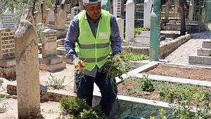 Şanlıurfa mezarlıkları kurban bayramına hazır