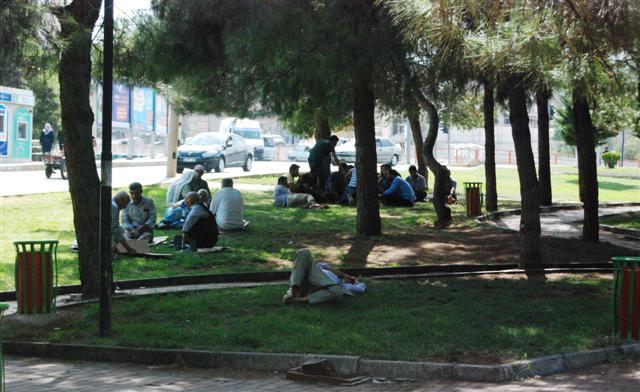 Sıcaklardan bunalan vatandaşlar parklarda serinliyor