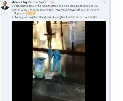 Yağmur altında temizlik yapan işçi takdir edildi