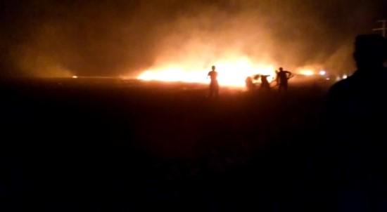 TİGEM arazisine yıldırım düştü, binlerce dönüm ekili arazi kül oldu