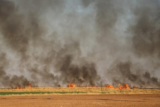 Mayınlı arazide korkutan yangın