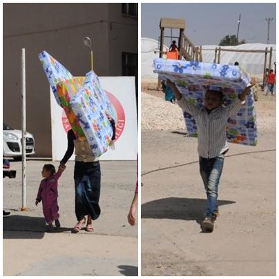 Suruç'ta Suriyelilere 2 Tır yatak dağıtıldı