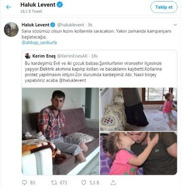 Ünlü sanatçı Haluk Levent kollarını ve bacaklarını kaybeden baba için umut oldu