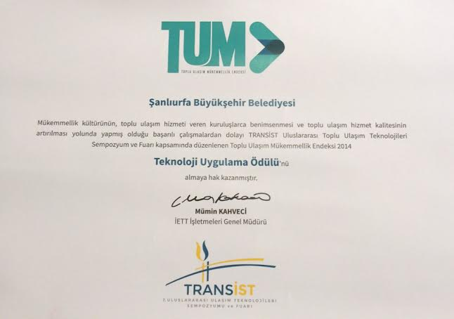 Şanlıurfa Belediyesi Teknoloji Uygulama Ödülünü aldı